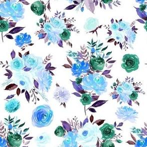 """8"""" BLUE Watercolor Floral Bouquets"""