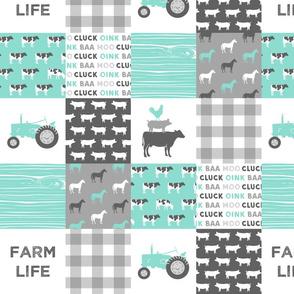 "4"" small scale - farm life wholecloth - dark aqua woodgrain"