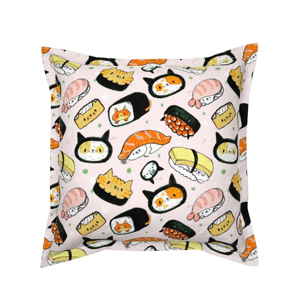 Serama Throw Pillow featuring kawaii kitty sushi  by dramacatz