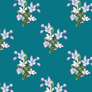 Apple Blossoms on Teal Upholstery Fabric