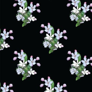 Apple Blossoms on Black Upholstery Fabric