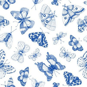 Blue dot art butterflies