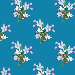 Apple Blossoms on Blue Upholstery Fabric