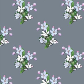 Apple Blossoms on Gray Upholstery Fabric