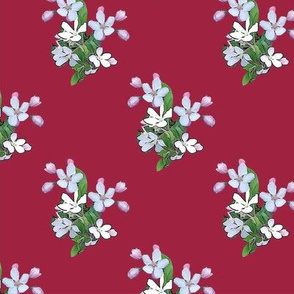 Apple Blossoms on Red Upholstery Fabric