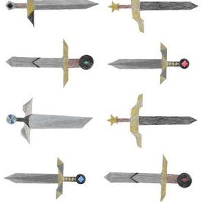 Bubbie's swords in a line - big
