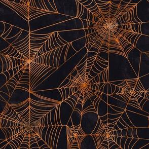 Spooky Spider Webs Orange // halloween classic orange and black fabric