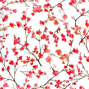 Watercolor brown branches with red small little flowers blossom bloom