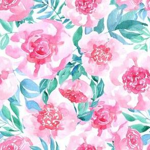 Watercolor pink flowers roses gren leaves
