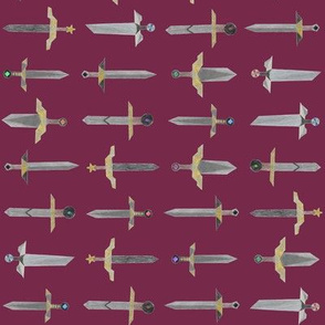 Bubbie's swords in a line - small on royal raspberry red