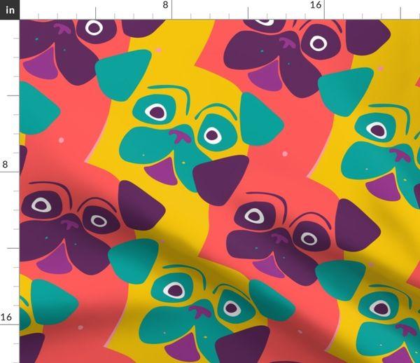 SAUSAGE DOGS BLACK NATURAL LINEN LOOK POP ART PRINT COTTON MIX  FABRIC