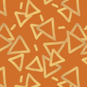Tossed Gold Foil Triangles on Rust Orange Upholstery Fabric