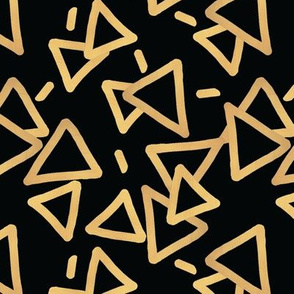 Tossed Gold Foil Triangles on Black Upholstery Fabric