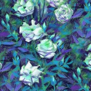 White Roses, Blue Leaves, Vintage Floral