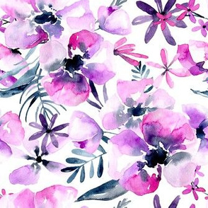 Watercolor purple flowers bouquets