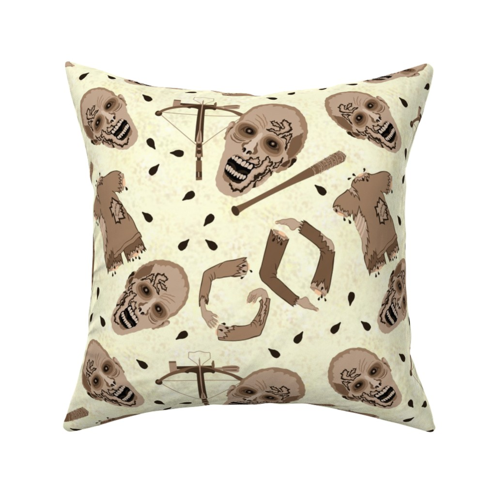 Catalan Throw Pillow featuring Zombies In Sepia by theartofvikki