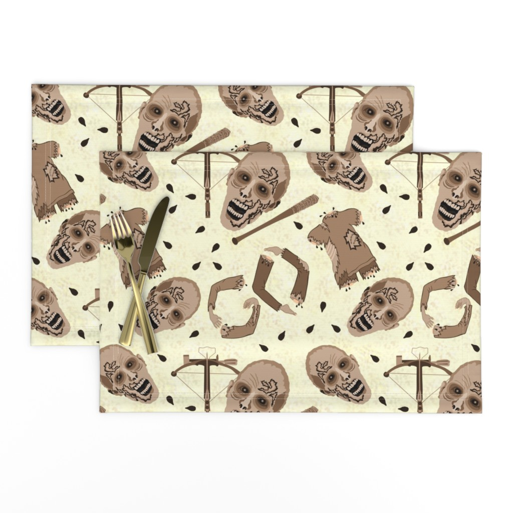 Lamona Cloth Placemats featuring Zombies In Sepia by theartofvikki