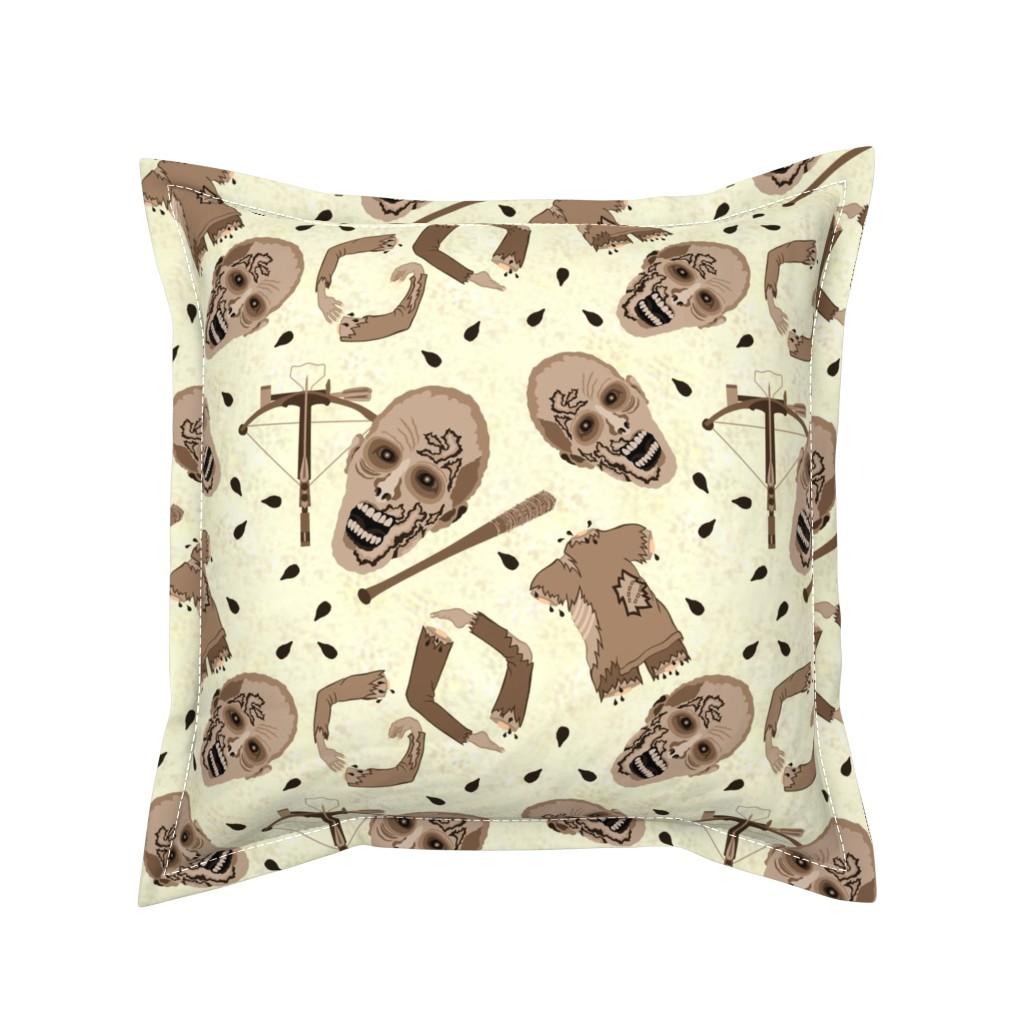 Serama Throw Pillow featuring Zombies In Sepia by theartofvikki
