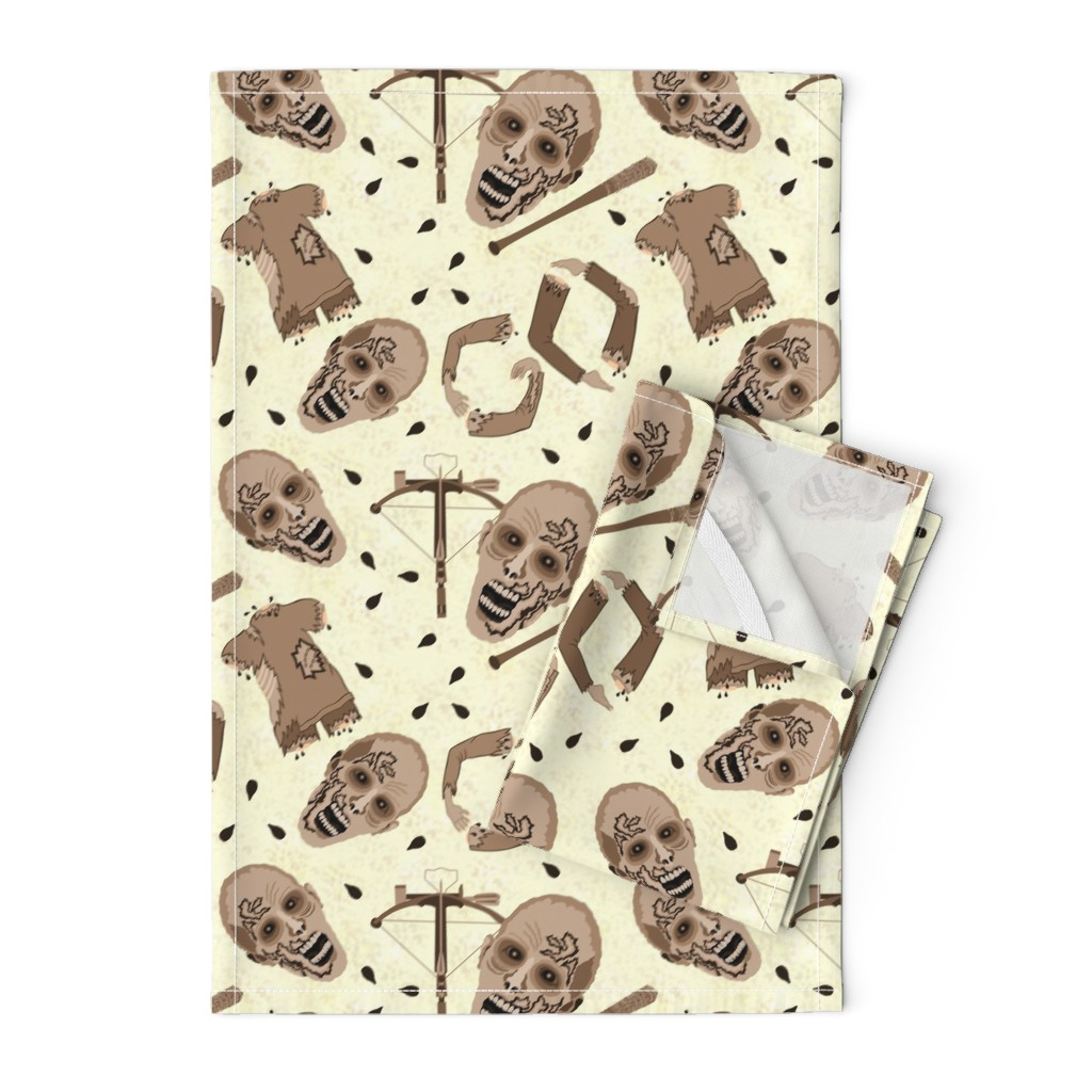 Orpington Tea Towels featuring Zombies In Sepia by theartofvikki