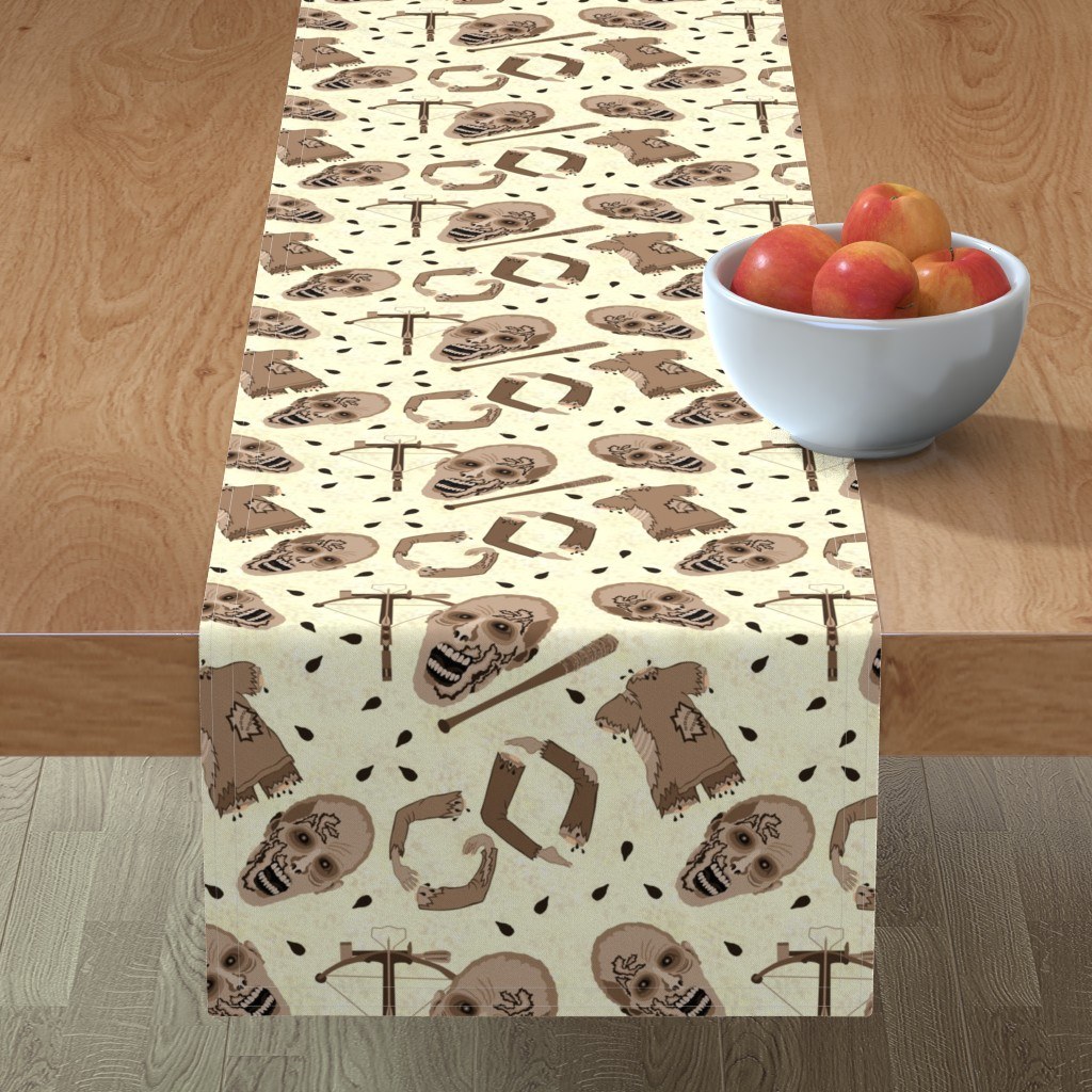 Minorca Table Runner featuring Zombies In Sepia by theartofvikki