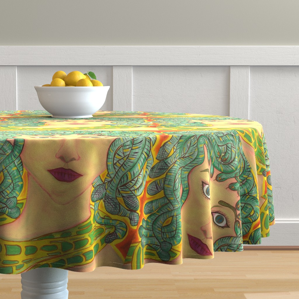 Malay Round Tablecloth featuring Medusa by zencatstudios