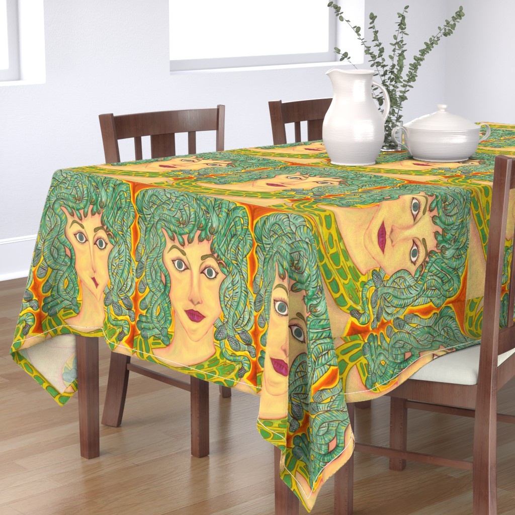 Bantam Rectangular Tablecloth featuring Medusa by zencatstudios