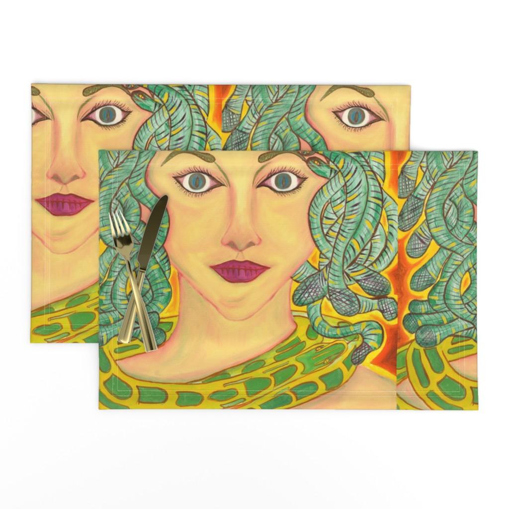Lamona Cloth Placemats featuring Medusa by zencatstudios