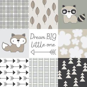 dream big little one neutral wholecloth 4 inch blocks