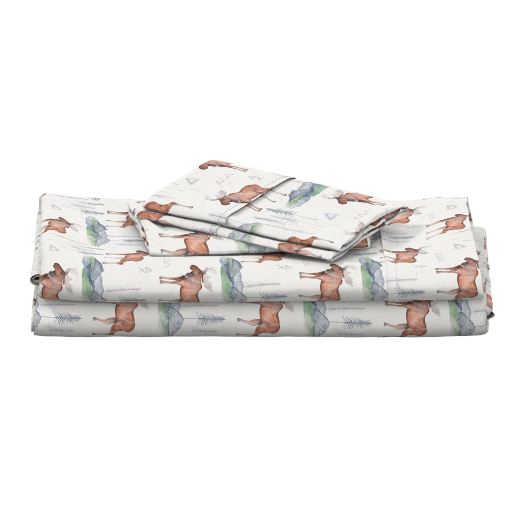 Langshan Full Bed Set featuring Majestic Moose Mountains by passionflora_design