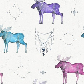 Boho Majestic Moose in Bright Tones