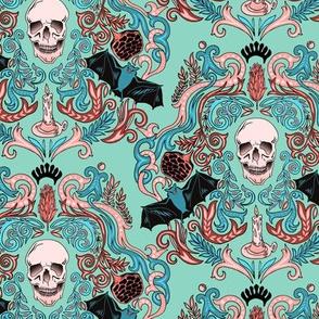Vintage Skull & Bats Blue