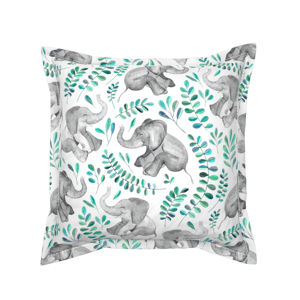 Serama Throw Pillow featuring Laughing Baby Elephants with Emerald and Turquoise leaves on white - large print by micklyn