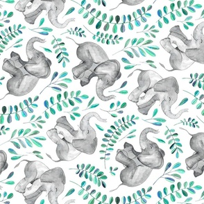 Rotated Laughing Baby Elephants with Emerald and Turquoise leaves on white - large print