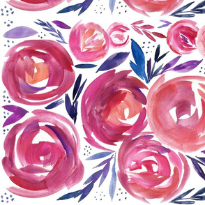 Pink and Navy Modern Abstract Floral