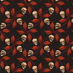 ★ VINTAGE HALLOWEEN CHERRY SKULL ★ Small Scale / Collection : Cherry Skull - Rock 'n' Roll Old School Tattoo Print