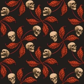 ★ VINTAGE HALLOWEEN CHERRY SKULL ★ Large Scale / Collection : Cherry Skull - Rock 'n' Roll Old School Tattoo Print
