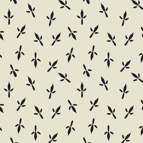Bird Tracks Black on Off White Background