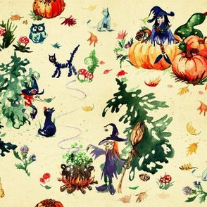 Watercolor halloween with cute witches