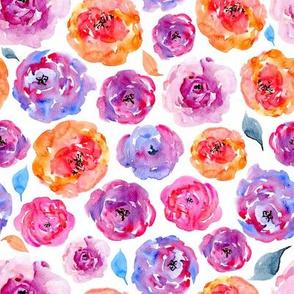 Watercolor bright purple roses flowers