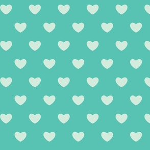 Hearts - Teals - Large