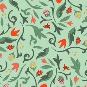 Vintage floral green