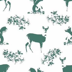 Roe deers and squirrels_greenblue
