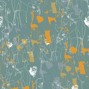 Draff 1 - sketchy giraffes, grey, orange