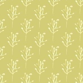 17-16E Olive green watercolor  branch    Abstract floral Flower Tree chartreuse