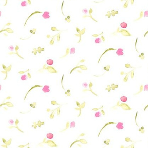 17-16D Olive green pink floral watercolor || tossed flower _ Miss Chiff Designs
