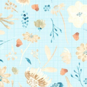 18-10P Fall Floral Autumn Leaves Blue || Teal cream linen olive green orange  watercolor