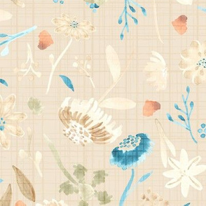 18-10N Fall Leaves Autumn Flowers Watercolor || Pastel Tan Blue Teal Cream Linen olive green