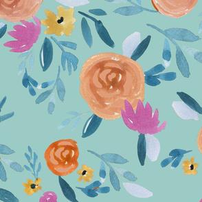 120. Festive Flowers Aqua