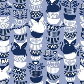 Swedish folk cats // pale blue background navy & white flowers bowls & cute kitties
