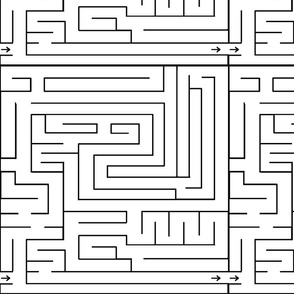 Labyrinth Black on White Upholstery Fabric